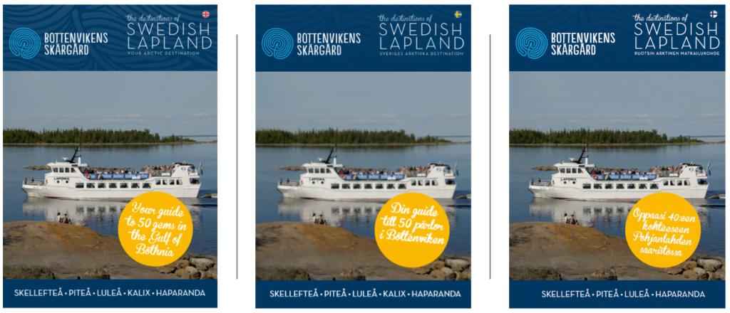 Framsida på skärgårdsbroschyren i tre versionen, engelska, svenska och finska